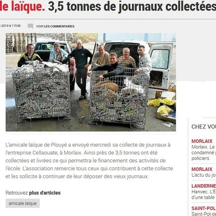 Plouyé : 3 tonnes de journaux livrées !