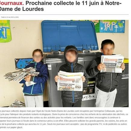 à Santec, la collecte est en place depuis mars à l''école ND de Lourdes